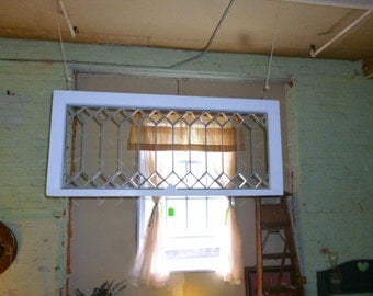 Antique Stained glass window Transom clear beveled glass repainted #2