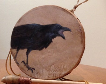Raven totem painted on rawhide drum