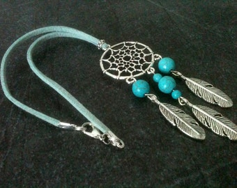Dreamcatcher rearview mirror charm, dreamcatcher jewelry, rearview charm, car accessories, car decoration, turquoise, gift idea under 10