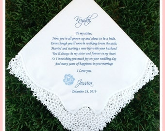 Bride Wedding Handkerchief from Sister of the Bride-Wedding Hankerchief-PRINTED-CUSTOMIZED-Weddings-Sisters of the Bride Gift-Sister hankies