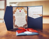 Wedding Invitation inspired by Snow White  disney inspired  gold magic mirror design  navy wallet red bow and apple