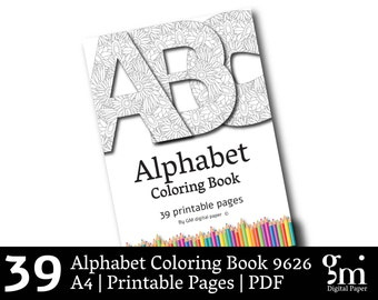 Coloring Book PDF, Alphabet Coloring Pages, Printable Coloring Pages, Instant Download, Xmas Gift