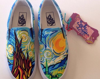 Starry Night VANS/TOMS - Hand Painted Shoes Slip On - SoleBliss