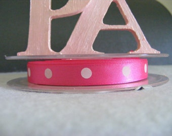 10mm Satin Polka Dot Ribbon  -By The Meter - #4509 Hot Pink