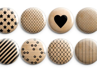 """8 Distressed Kraft Paper flair  - Set of 8 - 1.25"""" Buttons, Magnets, Flair, Black Stripes, Simple Patterned Buttons, Project Life"""