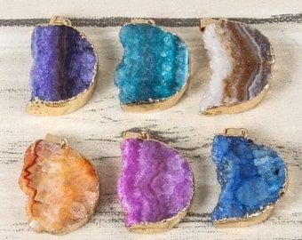 3 Gold Gemstone Pendant Raw Druzy Pendant Stone Moon Pendant Gold Plated Colorful Gemstone Jewelry Making Rough Pendant