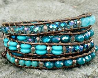 Mermaid baubles, sea green, Wrap Bracelet, Layered Wrap Bracelet, Bohemian Bracelet, Beaded Wrap Bracelet, Leather Wrap Bracelet,
