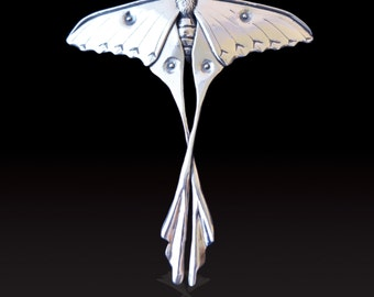 Sterling Silver African Moon Moth Pendant