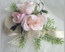 Wrist corsage, blush, roses, prom, wedding, silk corsage, shabby chick.