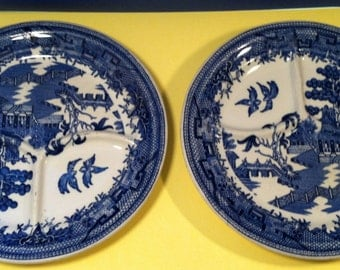 2 Blue Willow Grill Plates