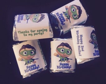 90 printed Superwhy Super Why Theme Birthday Party Hershey Mini Nugget Labels candy wrappers