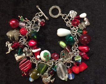 Christmas Bracelet Beaded Lampwork Glass Beads Charms Silver