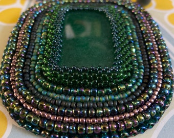 Bead Embroidered Necklace with green stone