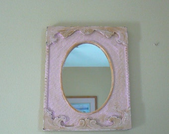 Vintage Wood Mirror, Oval Mirror Rectangle Frame, Pastel Pink Wall Mirror, Chippy Mirror, Country French, Cottage Mirror, 19 x 15
