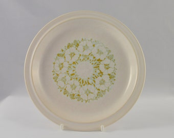 Hornsea Fleur small/side plate, white and muted green/brown floral pattern, from the 1970s