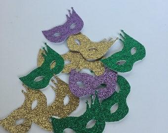 Masquerade party confetti. 100 pieces carnival party. Mardi gras theme. Glitter party. Table confetti