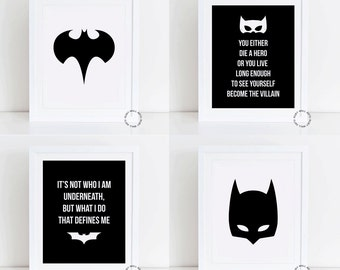 Batman Prints Set, FOUR 4 Batman Prints, Home Decor,Printable, Superhero, DC, Marvel, Superman, Black, Batman, Movies, Batman Posters