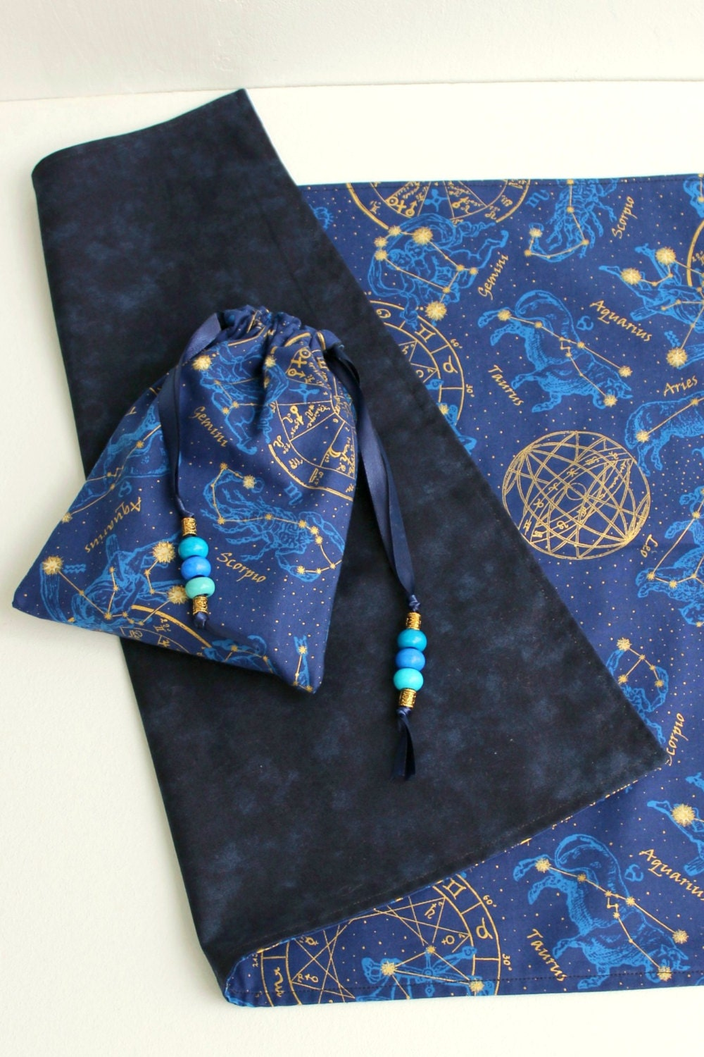 Tarot Bags Tarot Cards Cloths More: Tarot Bag Blue & Gold Zodiac Fabric Fully Lined Cloth