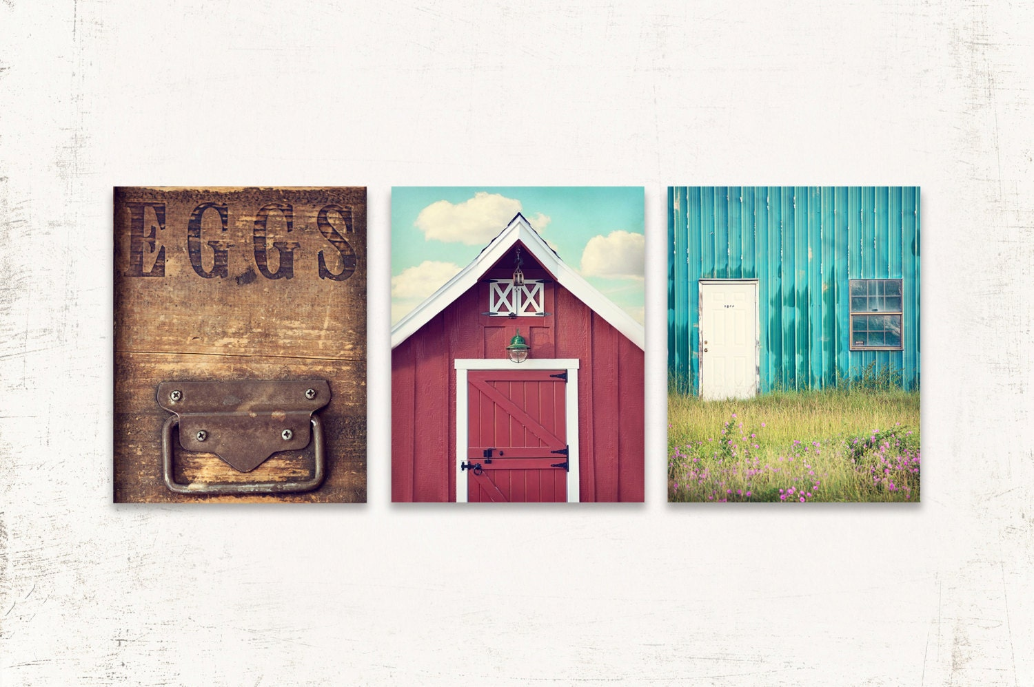 Kitchen wall art rustic kitchen wall decor set of three for Kitchen wall art sets