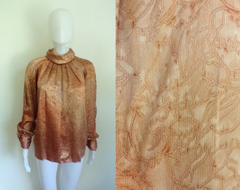 50%OFF July29-31 70s metallic blouse size medium / large (10), pleated secretary work top, copper floral womens shirt, oversize shift 1970s