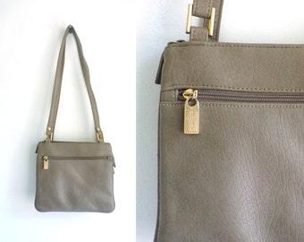 leather shoulder bag, taupe gray soft leather handbag, 80s mondani new york top handle bag, organizer purse, hold all 1980s minimalist bag