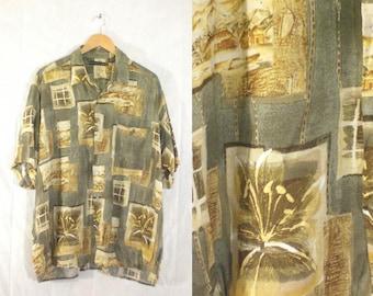 mens hawaiian shirt size xl, 80s shirt, tropical resort, green brown, button down, short sleeve, mens shirt, 1980s