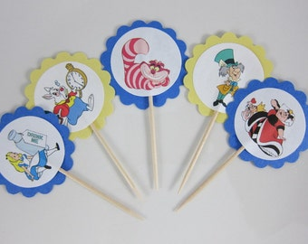 Alice in Wonderland  cupcake toppers, round scalloped cupcake picks