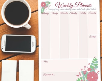 Instant Download - Printable Weekly Planner - Floral Design - Pink with Flower Detail