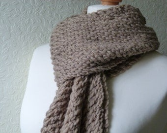 Chunky mocha hand knitted scarf in a wool and alpaca mix yarn