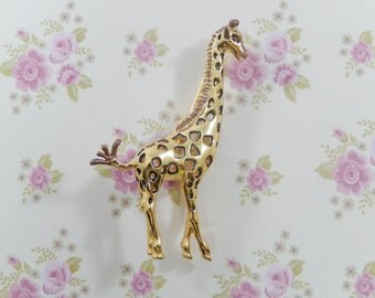 Vintage Bob Mackie Signed Giraffe Brooch with Original Box