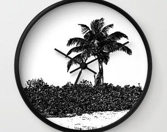 Palm Tree Black and White, Photo Wall Clock, Retro Clock,Home Decor,Summer Clock,Home Accessories,Interior Design,Beach Decor,Island Living