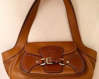 PRADA Vintage 90's Russet Brown Leather Bag.