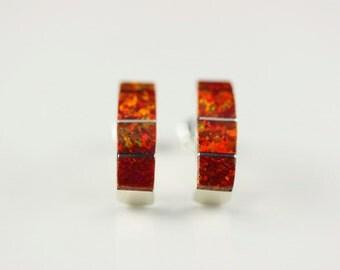 Native American Indian Jewelry Handmade Sterling Silver Opal Post Earrings