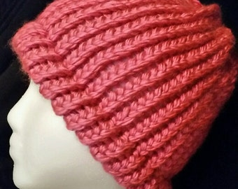 Pink Hand Knit hat Women's Shimmering yarn super soft acrylic with brim Valentine's Day Gift FREE SHIP US warm winter wear accessory beanie
