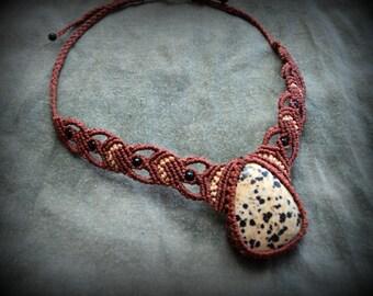 Dalmatian jasper macrame necklace