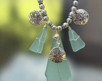 Sea Foam Green Beach Glass Necklace   Beach Glass Necklace   Sea Glass   Seaglass Jewelry   Beach Jewelry   Summer Necklace  