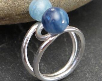 950 sterling silver ring, kyanite and aquamarine