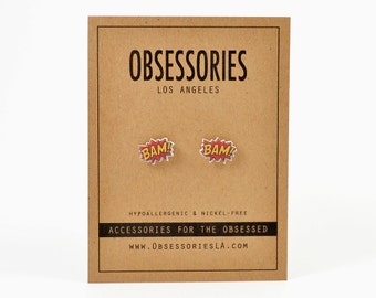 Bam Comic Book Earrings Stud Earrings Book Jewelry Book Accessories Sound Effect Superhero Super Hero Retro Nerd Geek Geeky Book Gift Idea