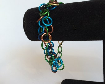 Blue, Green, Brown and Gold Shaggy Loop Bracelet