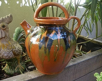 "Antique French buret wine jug pitcher Savoie pottery handmade ""jaspe"" glazed terra cotta pot east of France, country cottage kitchen decor"