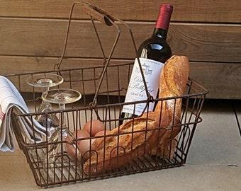 Vintage French wire basket for picnic - Antique large garden basket - Large rustic vegetable carrier - Rustic flower holder/