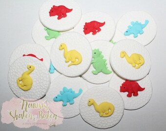 12x Dinosaur Boys Edible Fondant Cupcake Toppers