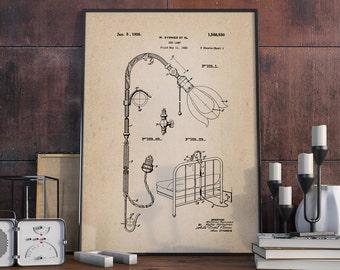 Bed Lamp Patent Print, Electric Lamp Patent, Bedroom Wall Art, Home Decor, Lamp Poster - DA0374