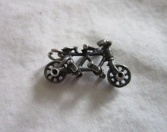 Charm Sterling Silver Mechanical CHARM Tandem Bicycle Bike - Moving wheels