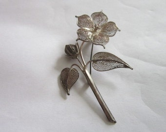 Antique Large Sterling Silver Filigree Flower Brooch