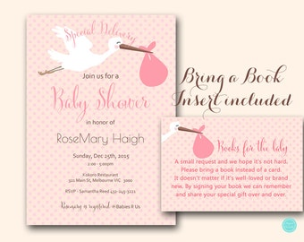 Pink Stork Baby Shower Invitation, Matching Books For The Baby Insert,  Bring A Book