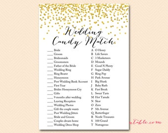 Bridal Shower Candy Bar Matching Game, Coed, Gold Confetti Bridal Shower Game, Candy Game, Gold Bridal Shower, Wedding Shower BS46 MP