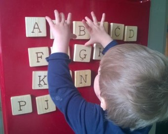 Wooden alphabet magnets - fridge magnets -alphabet learning tool - for toddler and preschooler