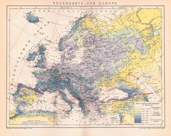 Antique Map of Europe - Antique Map of Europe from 1908