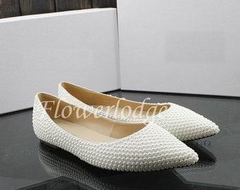 Pearl Flats Shoes Ponited Toe Closed Toe Women Shoes Flats Ivory Ballet Flats Soft Comfortable Flat Shoes, Custom White Pearl Flat Shoes